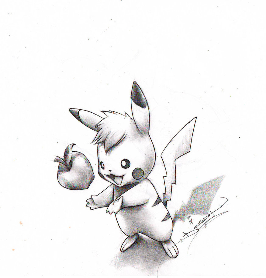 Drawn pikachu shaded 3D by Pikachu Pikachu ItsBirdyArt