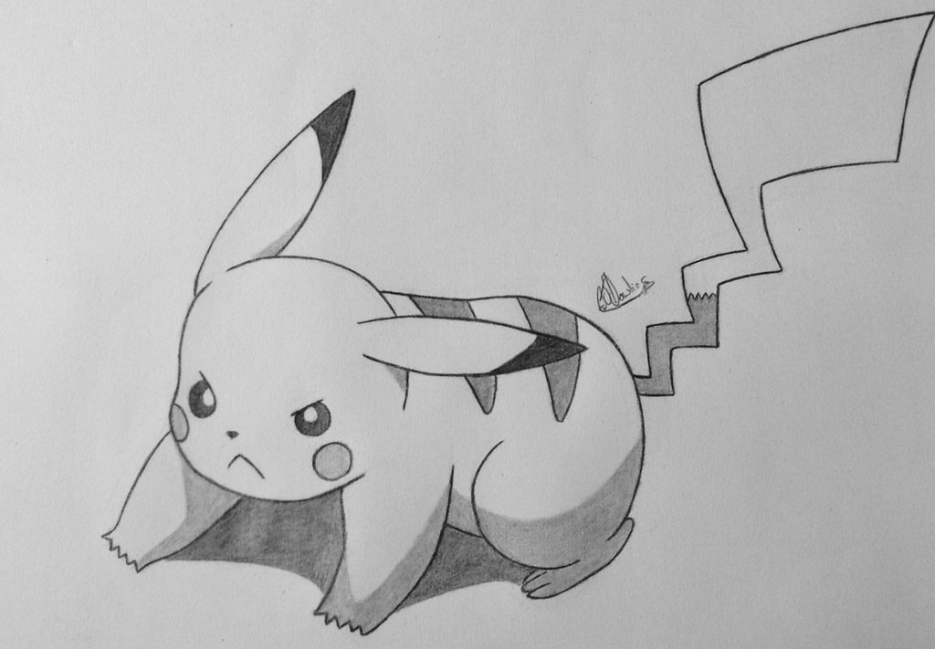 Drawn pikachu shaded + by COLOR DeviantArt Conzibar