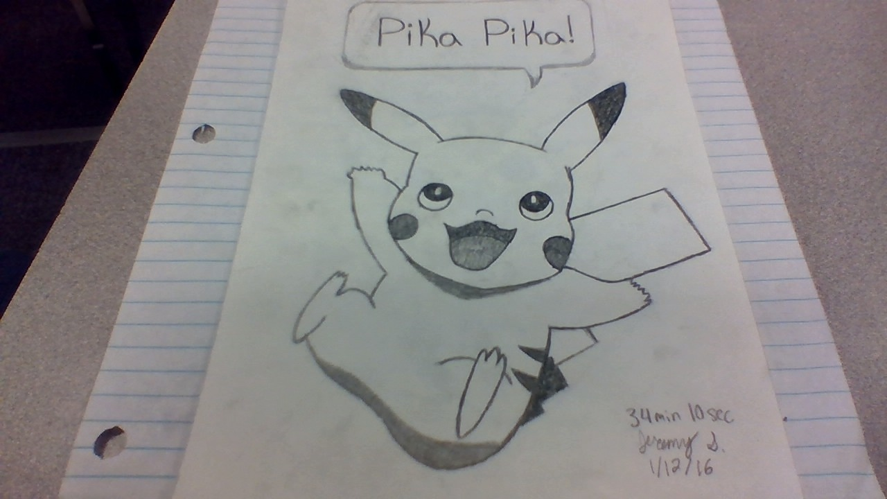 Drawn pikachu shaded Jerstockberger 2017 © Drawing Shaded