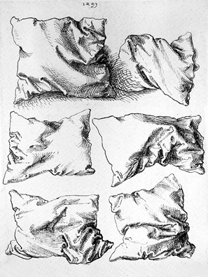 Drawn pillow Hatching the use Effective charcoal