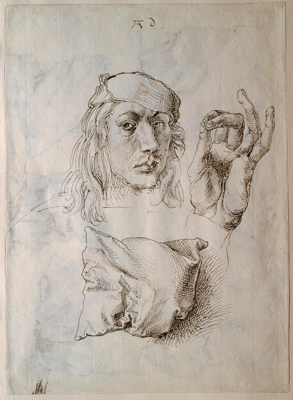 Drawn pillow durer Self a Six Hand portrait