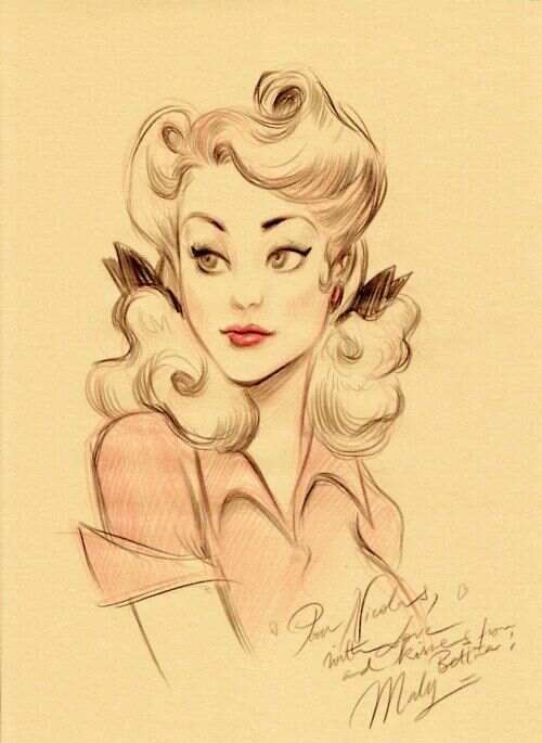 Drawn pin up  bartender Pin about up pin on