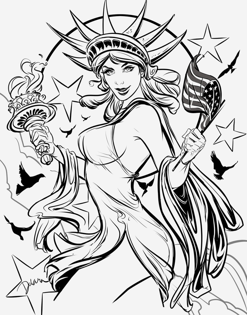 Drawn pin up  4th july  CrisDelaraArt deviantart @DeviantArt on