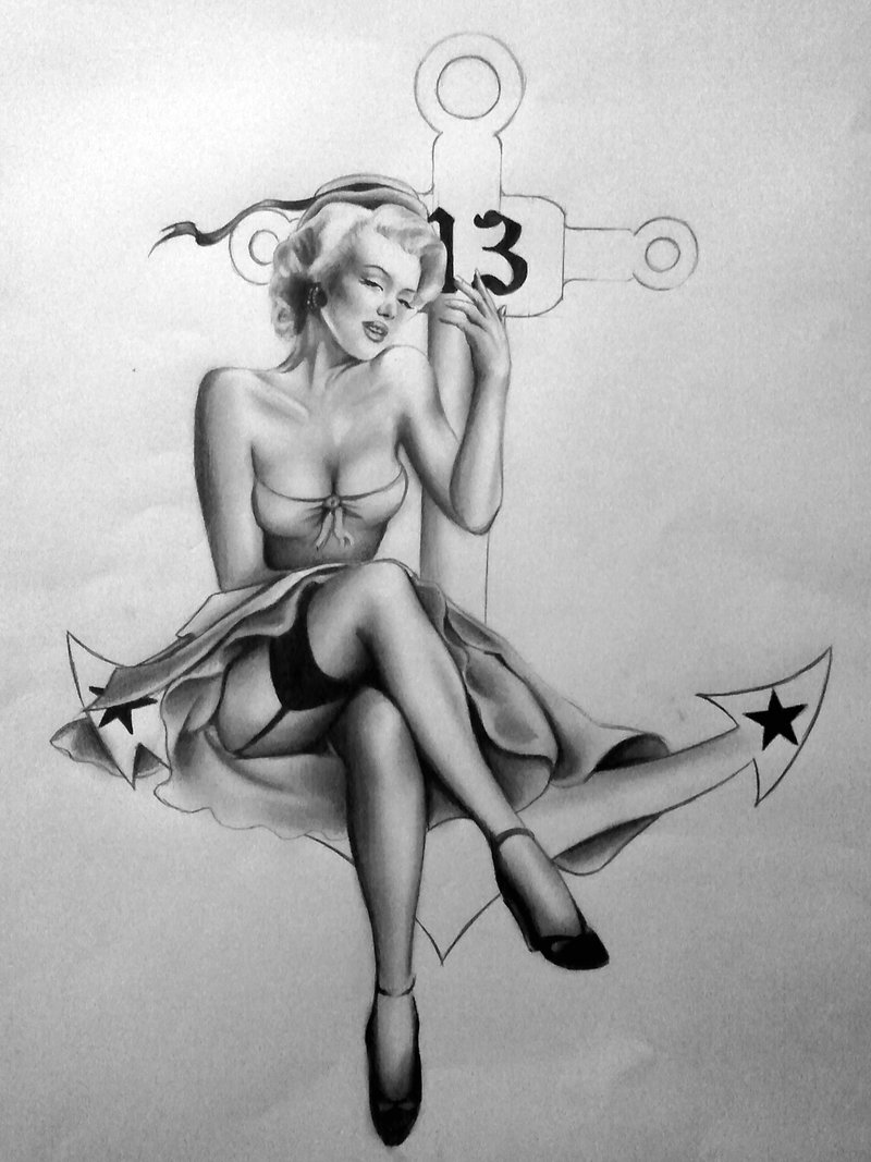 Drawn pin up  anchor Silk86 com up drawings by