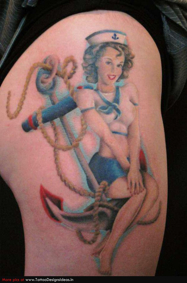 Drawn pin up  anchor Pin Girl sailor ★ Tattoos
