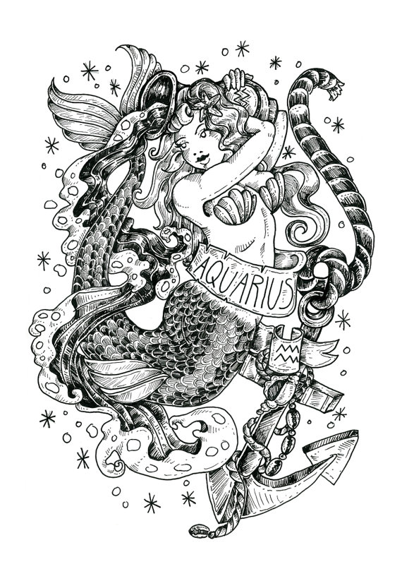 Drawn pin up  aquarius Scorpio bird com/shop/BirdBlackEmporium Gemini Capricorn