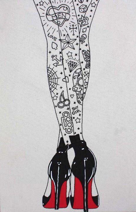 Drawn pin up  art Vintage shoes pin Best tattoos