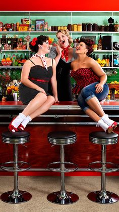 Drawn pin up  bartender POWER The  pin diner