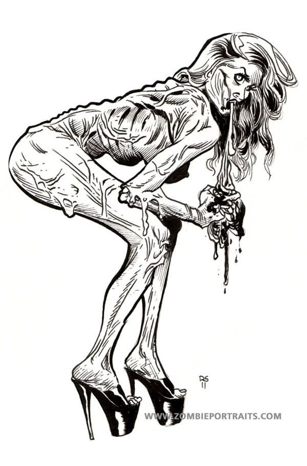 Drawn pin up  black and white Zombie Girls Guts best Up