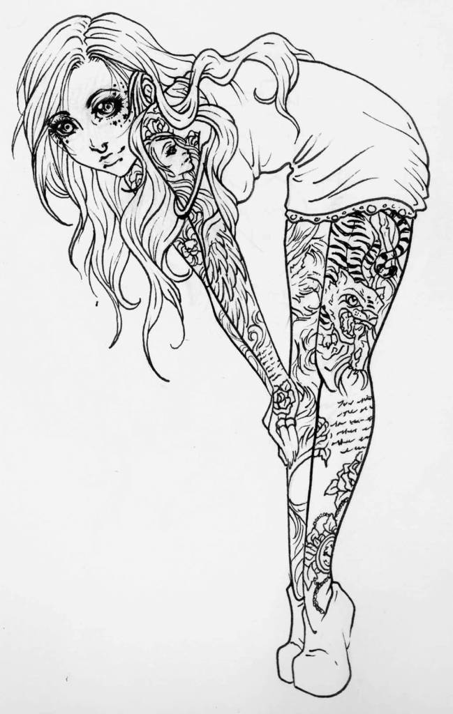 Drawn pin up  black and white Pin A Ink Pin Ink