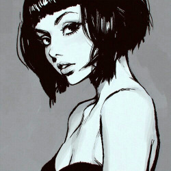 Drawn pin up  black and white B&w and up pop indie