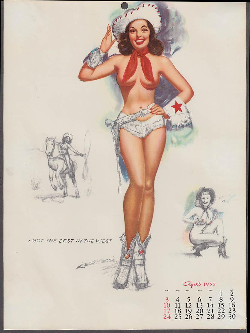 Drawn pin up  bosom N  in West 1955