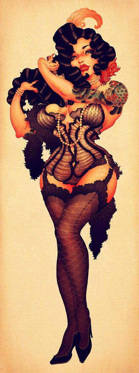 Drawn pin up  burlesque Via pinups Behance Mermaid via