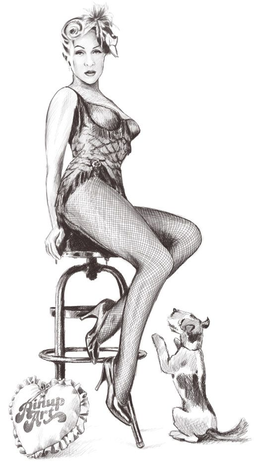 Drawn pin up  burlesque On Rose