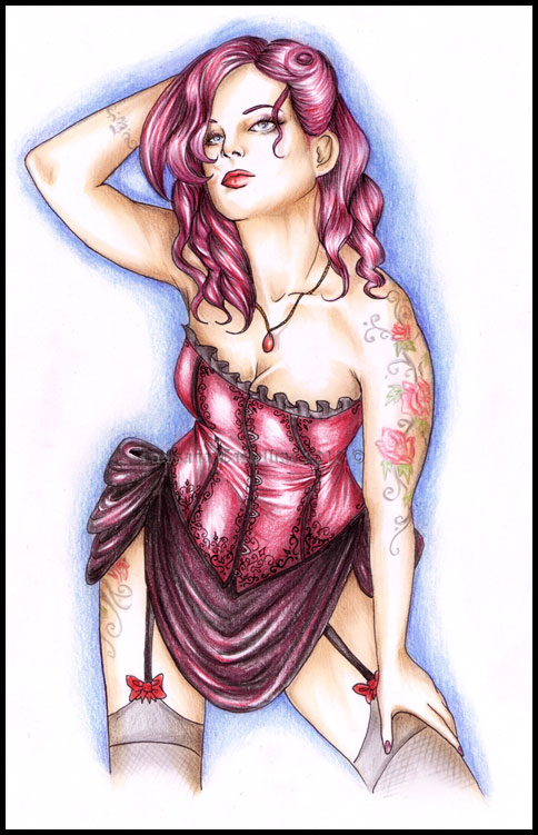 Drawn pin up  burlesque RossanaCastellino by Silvia burlesque on