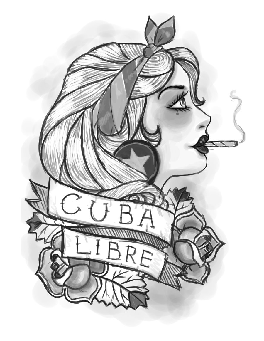 Drawn pin up  cuba CUBA MILES form on 90