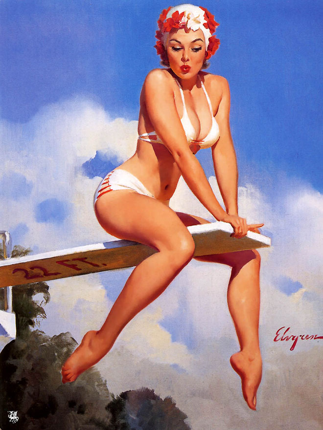 Drawn pin up  famous Oil up american american oil