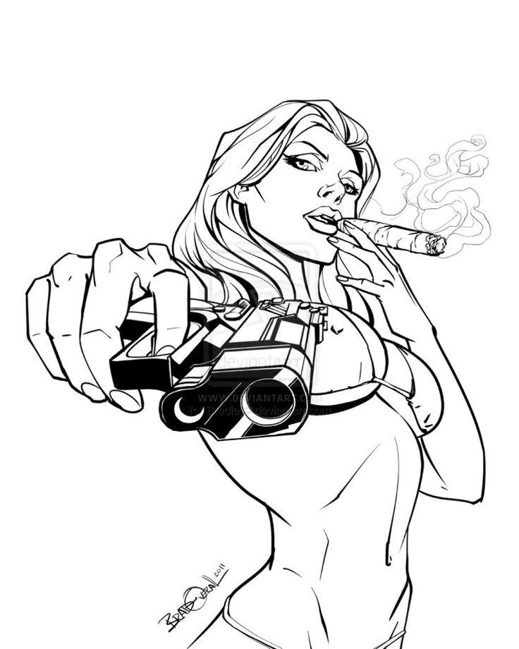 Drawn pistol detailed Girl by street Pin Pinterest
