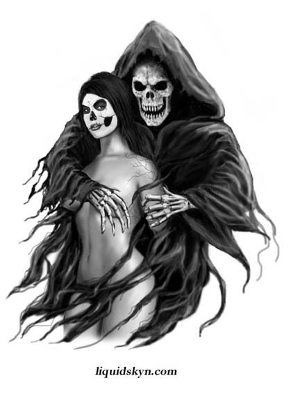 Drawn pin up  grim reaper Grim on this grim 94