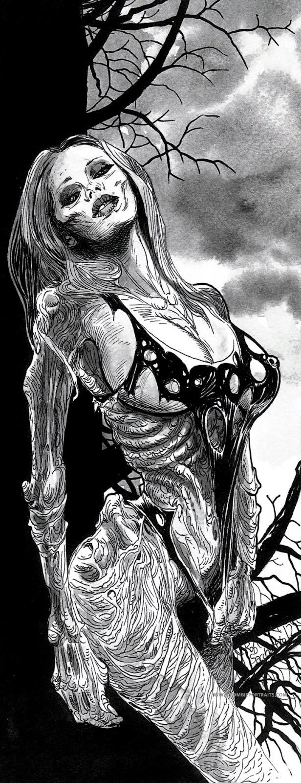 Drawn pin up  grim reaper Zombie Zombie Artist Sacchetto's Babe