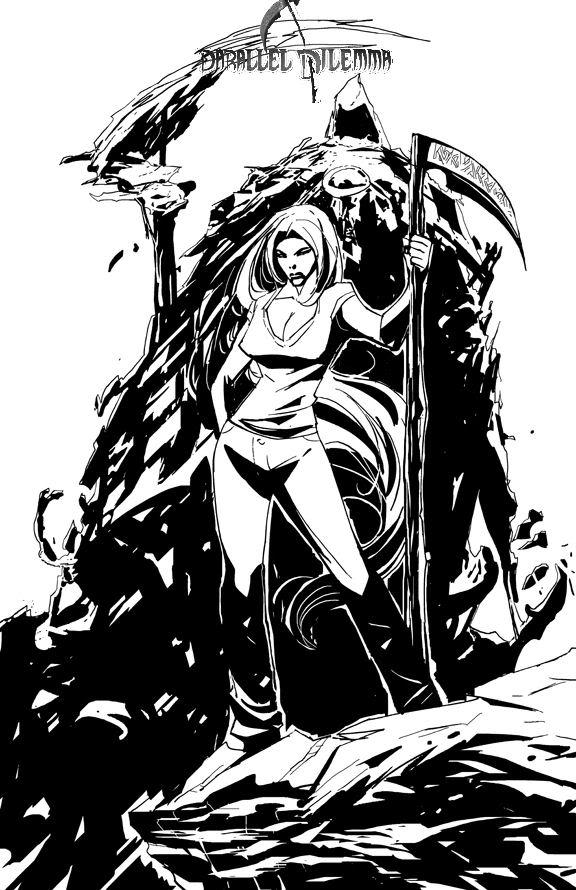 Drawn pin up  grim reaper Me) Please (kickstart me!