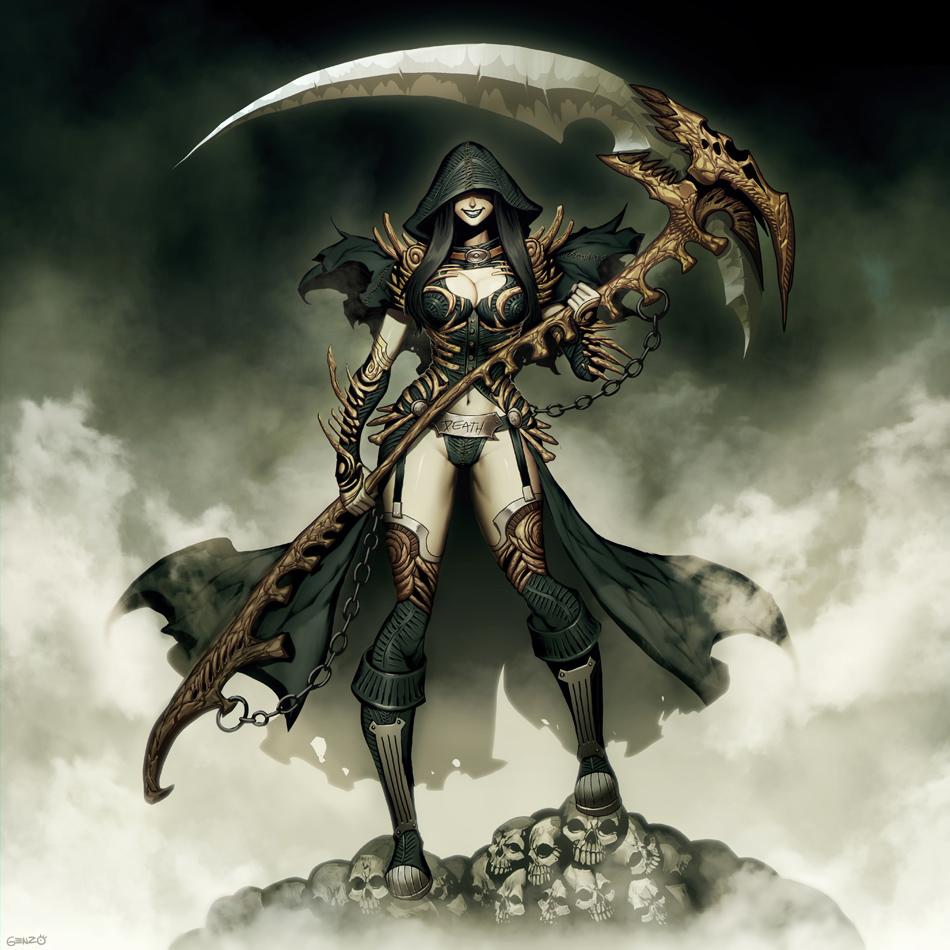 Drawn pin up  grim reaper Reaper Lady Grim Grim by