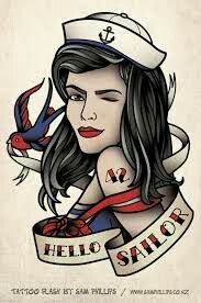 Drawn pin up  hello sailor Sailor 65 Pinterest Hello TattoosPinup
