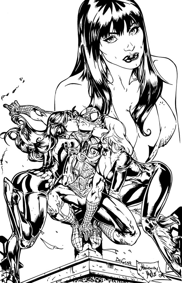 Drawn pin up  ink drawing By up by Spiderman on