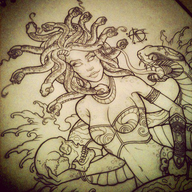 Drawn pin up  medusa Design Medusa by tattoo 25+