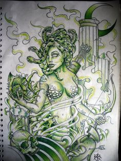Drawn pin up  medusa Design by on ~Frosttattoo up
