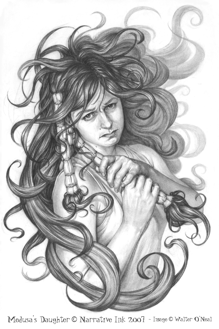 Drawn pin up  medusa Daughter No Sign Sign by