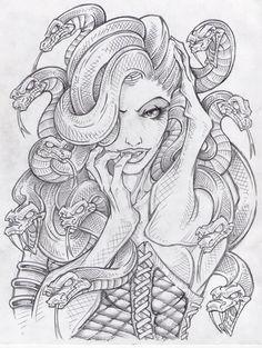 Drawn pin up  medusa Tattoo Pinteres… Medusa … Tatuajes