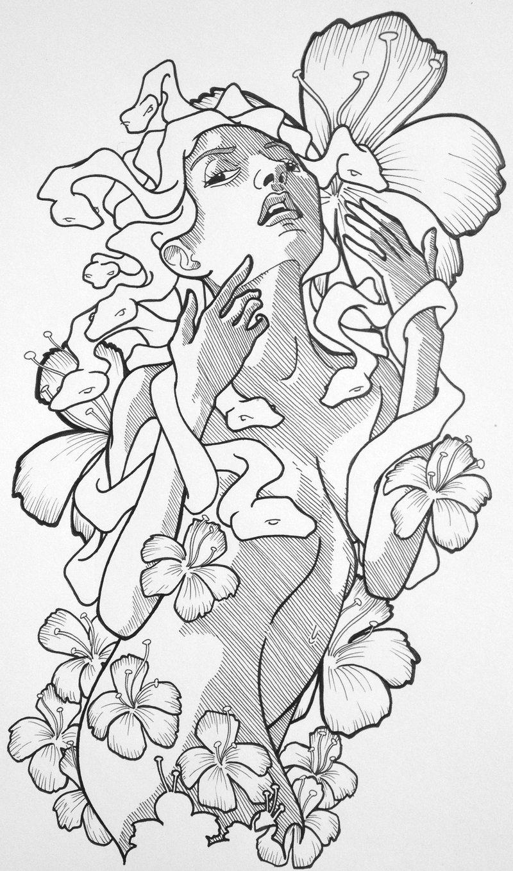 Drawn pin up  medusa Medusa Up Tattoo Tattoo Pin