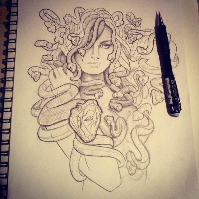 Drawn pin up  medusa Drawing best Pinterest Medusa on