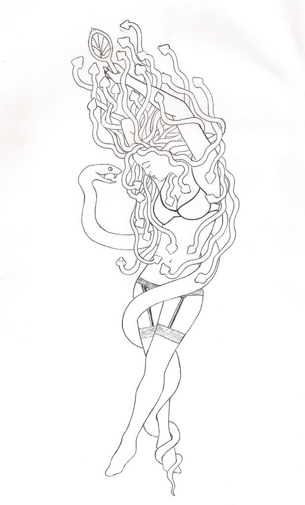 Drawn pin up  medusa Image think moment a to