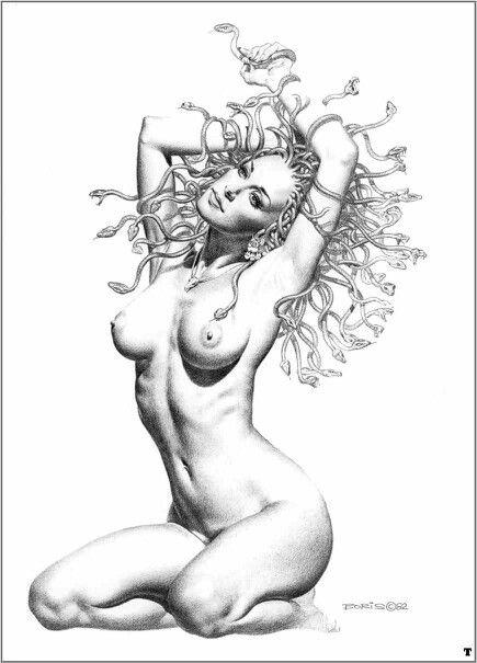 Drawn pin up  medusa Vallejo Medusa