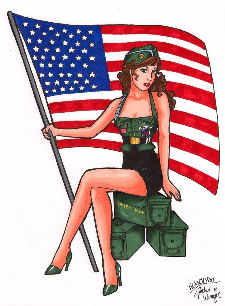 Drawn pin up  military Army on jacqueline87 Girl 2