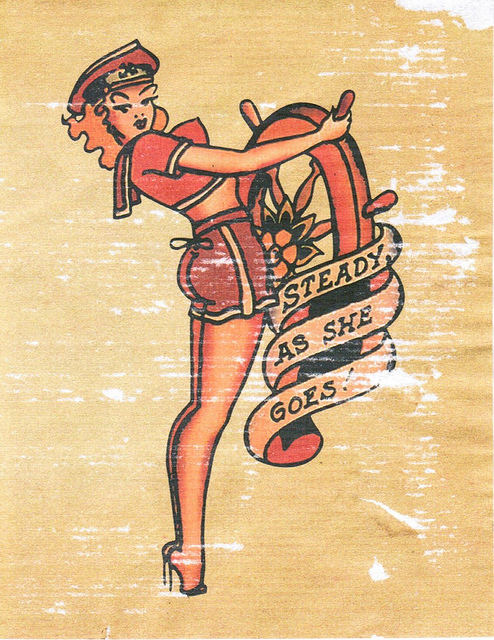 Drawn pin up  nautical Sailor Girl Jerry TATTOO!! Pin