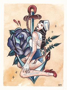Drawn pin up  nautical # more girl  Boat