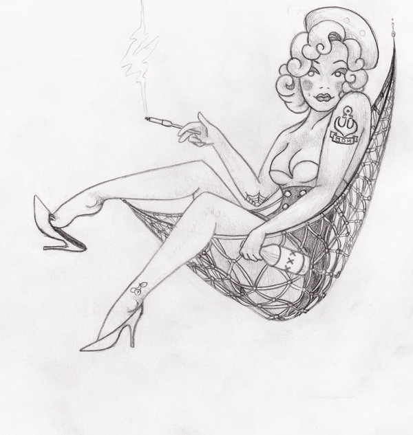 Drawn pin up  nautical Pride! more tattoo drawing Navy
