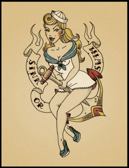 Drawn pin up  nautical Girl ups navy up navy
