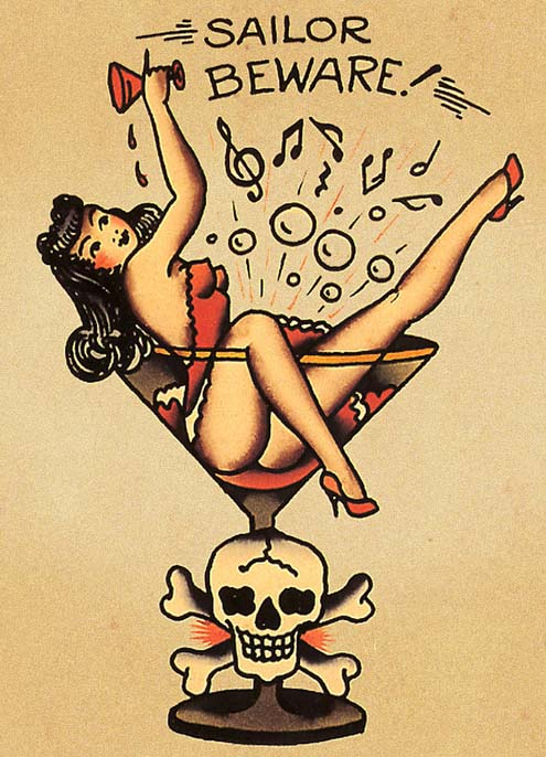 Drawn pin up  nautical  girl tattoo pin pin