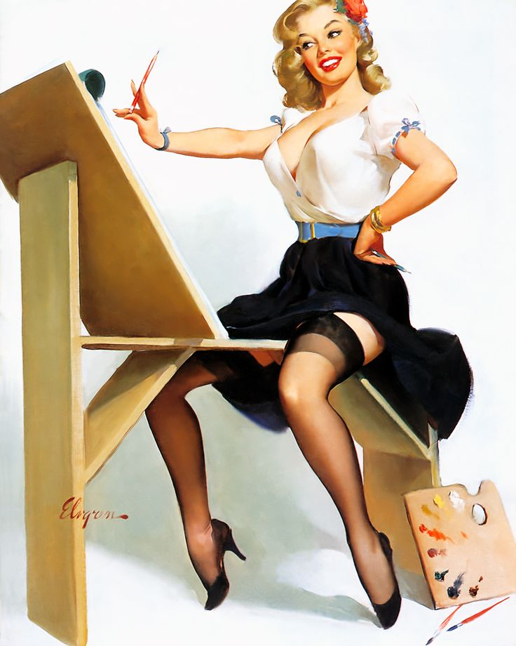 Drawn pin up  painted pin Tags gil elvgren on little