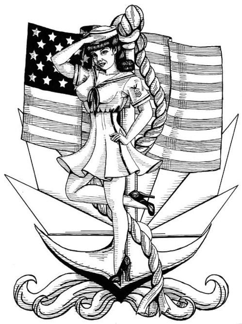 Drawn pin up  poster Best on by Navy Poster