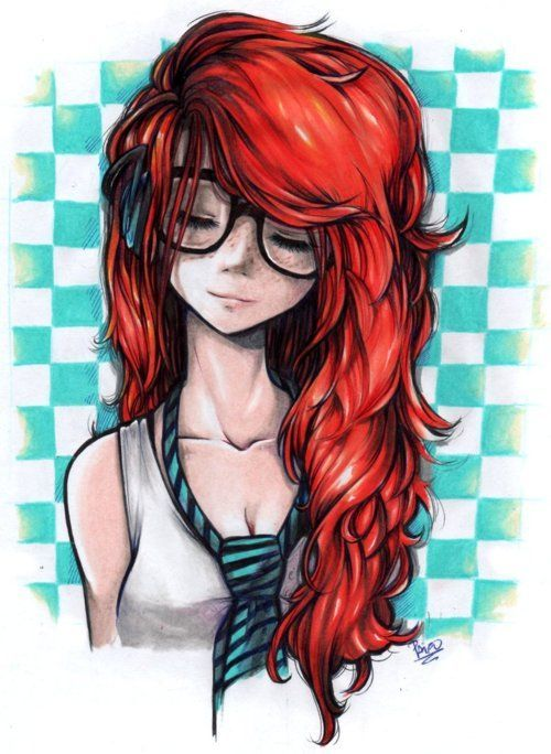 Drawn pin up  red hair / Paint images on /