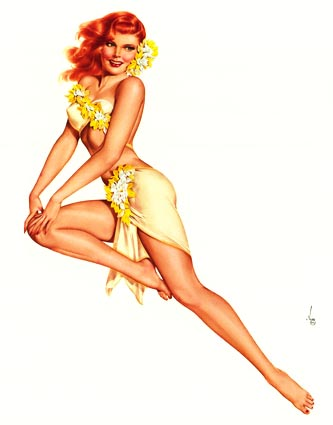 Drawn pin up  red hair Cocktails yellow Celebrate To red