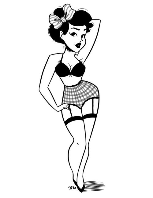 Drawn pin up  rockabilly Pin Best up Illustration pin