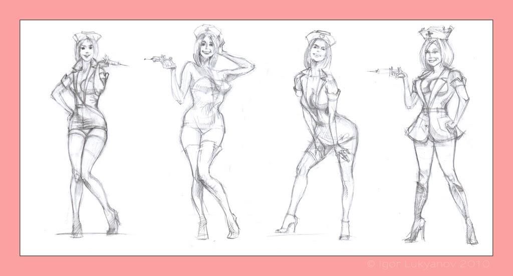 Drawn pin up  sketch Sketches Nurse  Pin up