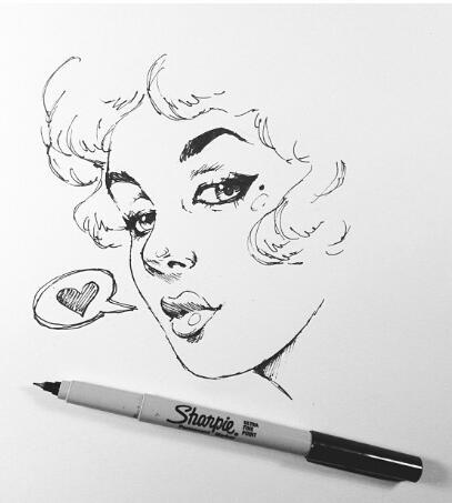 Drawn pin up  sketch PIN Artsy UP and DRAWING