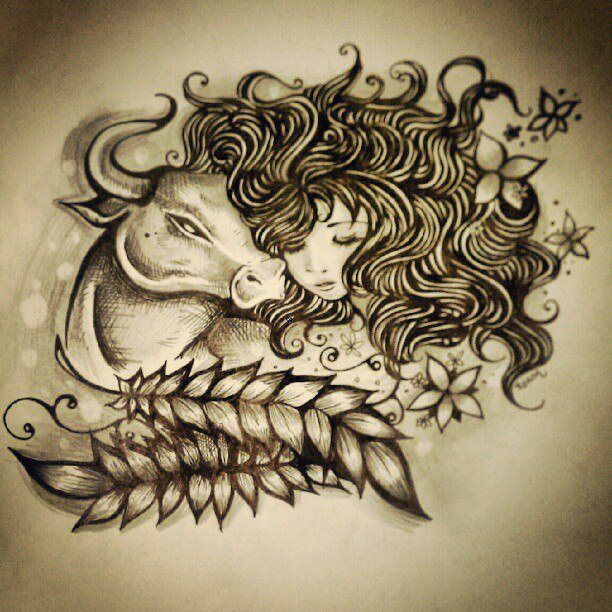 Drawn pin up  taurus Pinterest tattoos ideas more bull